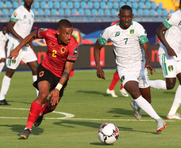 Bruno Gaspar of Angola and Ismael Diakite of Mauritania during the 2019 Africa Cup of Nations Finals football match between Mauritania and Angola  at the Suez Stadium, Suez, Egypt on 29 June 2019 ©Gavin Barker/BackpagePix