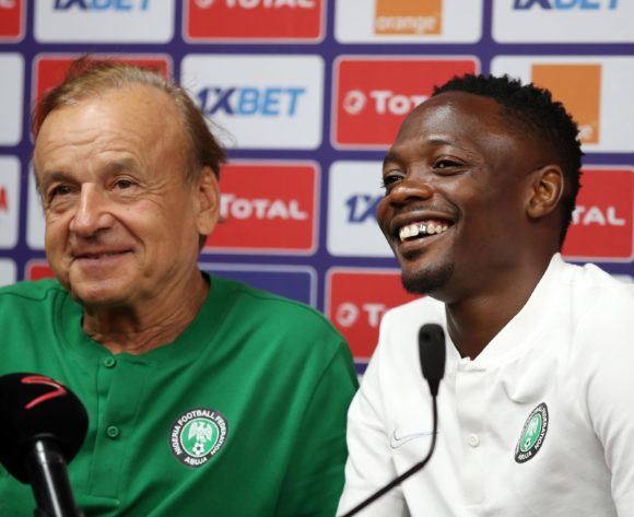 Ahmed Musa with Gernot Rohr, coach of Nigeria during the 2019 Africa Cup of Nations Nigeria Press Conference at the Alexandria Stadium, Alexandria on the 29 June 2019 ©Muzi Ntombela/BackpagePix