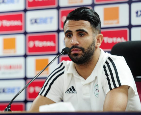 Riyad Mahrez of Algeria chats to media during the 2019 Africa Cup of Nations Finals press conference for Algeria at Al Salam Stadium in Cairo, Egypt on 29 June 2019 © Ryan Wilkisky/BackpagePix