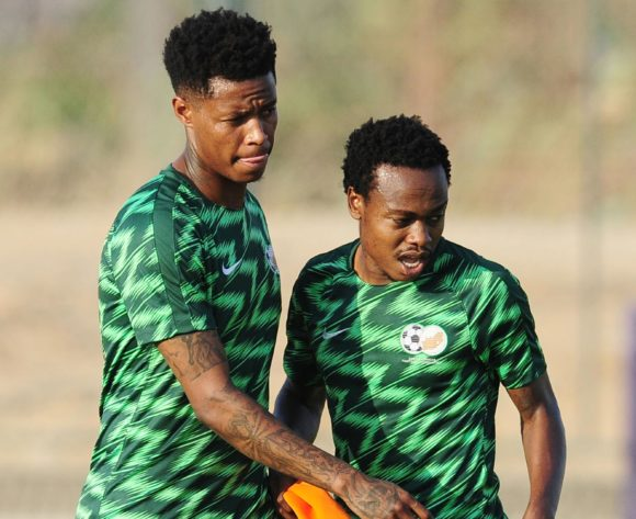 Bongani Zungu and teammate Percy Tau of South Africa during the 2019 Africa Cup of Nations Finals training session for South Africa at the Aero Sports Complex in Cairo, Egypt on 29 June 2019 © Ryan Wilkisky/BackpagePix