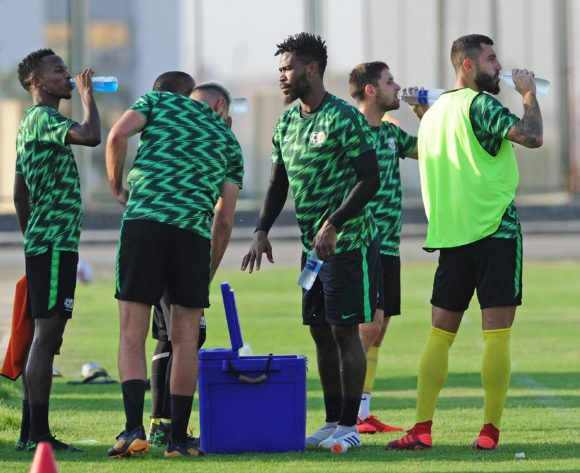South Africa players take a drinks break during the 2019 Africa Cup of Nations Finals training session for South Africa at the Aero Sports Complex in Cairo, Egypt on 29 June 2019 © Ryan Wilkisky/BackpagePix