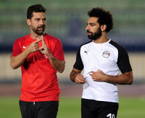 Mohamed Salah of Egypt chats to coaching staff during the 2019 Africa Cup of Nations Finals training session for Egypt at the Military Academy Stadium in Cairo, Egypt on 29 June 2019 © Ryan Wilkisky/BackpagePix
