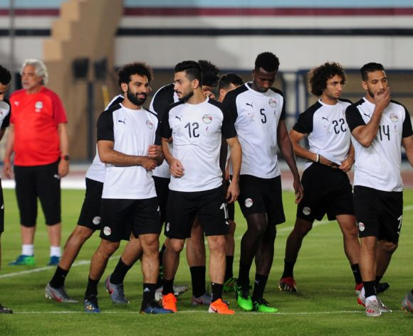 Egypt players start their warm up before the 2019 Africa Cup of Nations Finals training session for Egypt at the Military Academy Stadium in Cairo, Egypt on 29 June 2019 © Ryan Wilkisky/BackpagePix