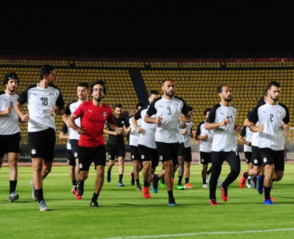 Egypt players warm up during the 2019 Africa Cup of Nations Finals training session for Egypt at the Military Academy Stadium in Cairo, Egypt on 29 June 2019 © Ryan Wilkisky/BackpagePix