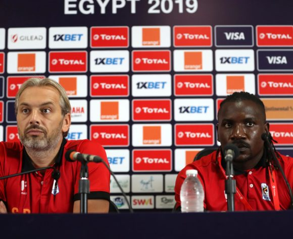 Sebastien Desabre, head coach of Uganda and Hassan Wasswa of Uganda during the 2019 Africa Cup of Nations Finals Uganda press conference at Cairo International Stadium, Cairo, Egypt on 29 June 2019 ©Samuel Shivambu/BackpagePix