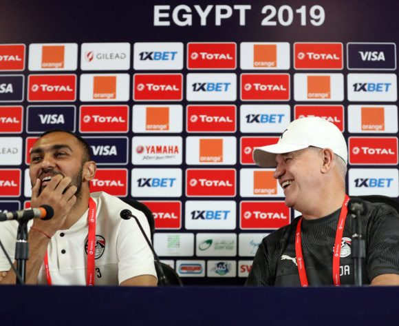 Ahmed El Mohamady of Egypt and Javier Aguirre, coach of Egypt during the 2019 Africa Cup of Nations Finals Egypt press conference at Cairo International Stadium, Cairo, Egypt on 29 June 2019 ©Samuel Shivambu/BackpagePix