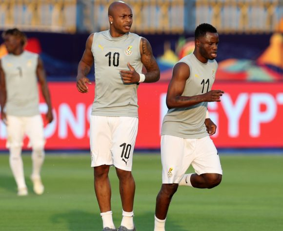 Andre Ayew and Mubarak Wakaso of Ghana warm up during the 2019 Africa Cup of Nations Finals Cameroon and Ghana at Ismailia Stadium, Ismailia, Egypt on 29 June 2019 ©Samuel Shivambu/BackpagePix