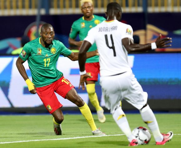 Jonathan Mensah of Ghana challenged by Karl Toko Ekambi of Cameroon during the 2019 Africa Cup of Nations Finals Cameroon and Ghana at Ismailia Stadium, Ismailia, Egypt on 29 June 2019 ©Samuel Shivambu/BackpagePix