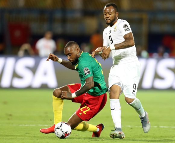 Jean-Armel Kana-Biyik of Cameroon challenged by Jordan Ayew of Ghana during the 2019 Africa Cup of Nations Finals Cameroon and Ghana at Ismailia Stadium, Ismailia, Egypt on 29 June 2019 ©Samuel Shivambu/BackpagePix