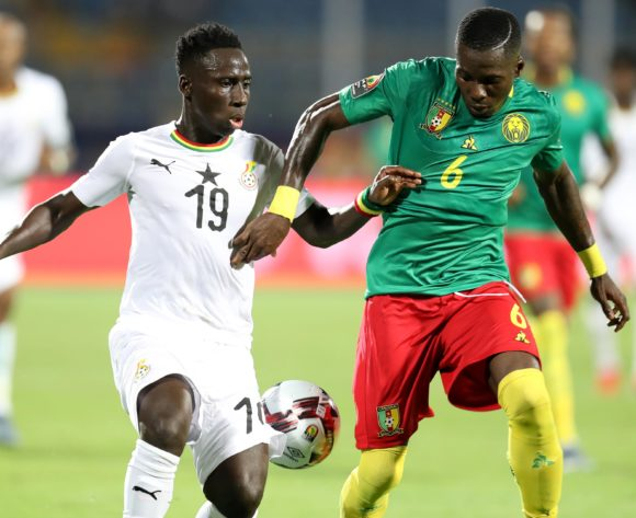 Afriyie Acquah of Ghana challenged by Ambroise Oyongo of Cameroon during the 2019 Africa Cup of Nations Finals Cameroon and Ghana at Ismailia Stadium, Ismailia, Egypt on 29 June 2019 ©Samuel Shivambu/BackpagePix