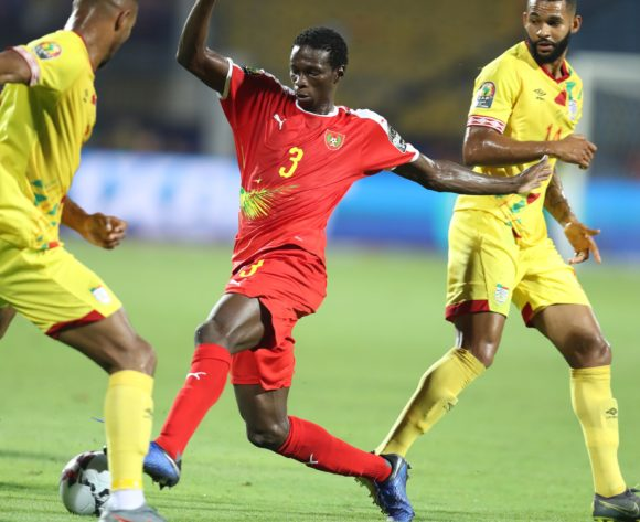 Braima Jorge of Guinea-Bissau challenged by Cebio Soukou of Benin during the 2019 Africa Cup of Nations Finals Benin and Guinea-Bissau at Ismailia Stadium, Ismailia, Egypt on 29 June 2019 ©Samuel Shivambu/BackpagePix