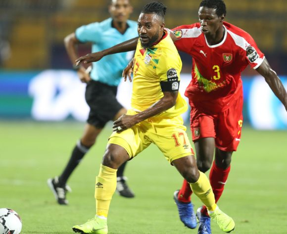 Stephane Sessegnon of Benin challenged by Braima Jorge of Guinea-Bissau during the 2019 Africa Cup of Nations Finals Benin and Guinea-Bissau at Ismailia Stadium, Ismailia, Egypt on 29 June 2019 ©Samuel Shivambu/BackpagePix