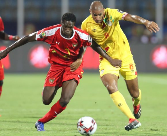 Braima Jorge of Guinea-Bissau challenged by Jordan Souleymane Adeoti of Benin during the 2019 Africa Cup of Nations Finals Benin and Guinea-Bissau at Ismailia Stadium, Ismailia, Egypt on 29 June 2019 ©Samuel Shivambu/BackpagePix