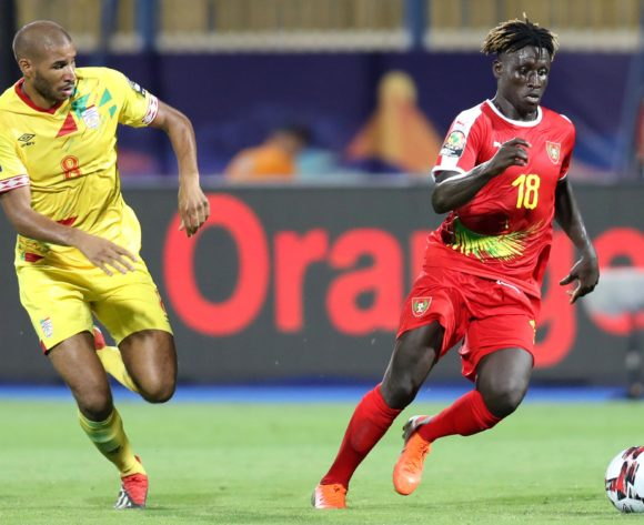 Piqueti Silva of Guinea-Bissau challenged by Jordan Souleymane Adeoti of Benin during the 2019 Africa Cup of Nations Finals Benin and Guinea-Bissau at Ismailia Stadium, Ismailia, Egypt on 29 June 2019 ©Samuel Shivambu/BackpagePix