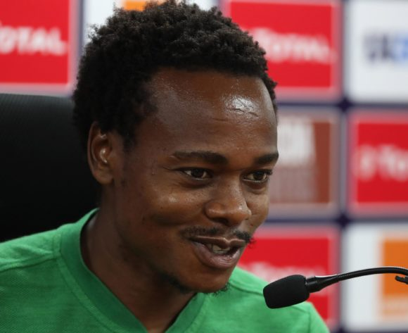 Percy Tau addresses media during the 2019 Africa Cup of Nations Finals South Africa Press Conference at the Al Salam Stadium, Cairo, Egypt on 30 June 2019 ©Gavin Barker/BackpagePix