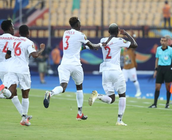 Mohamed Yattara of Guinea (r) celebrates goal during the 2019 Africa Cup of Nations Finals football match between Burundi and Guinea at the Al Salam Stadium, Cairo, Egypt on 28 June 2019 ©Gavin Barker/BackpagePix