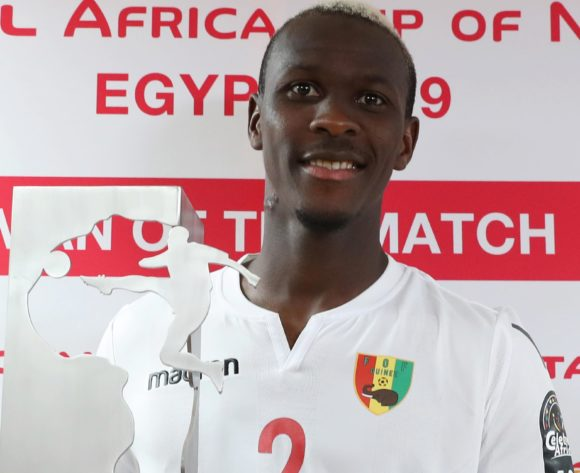 Mohamed Yattara of Guinea wins Total Man of the Match Award during the 2019 Africa Cup of Nations Finals football match between Burundi and Guinea at the Al Salam Stadium, Cairo, Egypt on 28 June 2019 ©Gavin Barker/BackpagePix