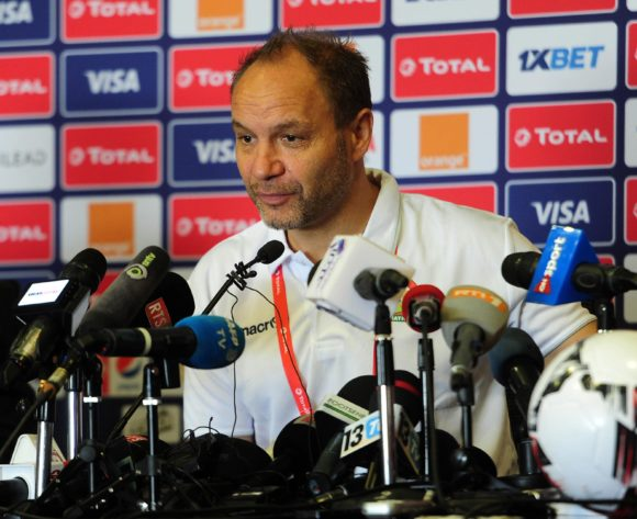 Sebastien Migne, head coach of Kenya chat to media during the 2019 Africa Cup of Nations Finals press conference for Kenya at 30 June Stadium in Cairo, Egypt on 30 June 2019 © Ryan Wilkisky/BackpagePix