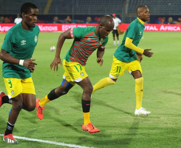 Danny Phiri, Knowledge Musona and Khama Billiat of Zimbabwe warm up before the 2019 Africa Cup of Nations Finals game between Zimbabwe and DR Congo at 30 June Stadium in Cairo, Egypt on 30 June 2019 © Ryan Wilkisky/BackpagePix