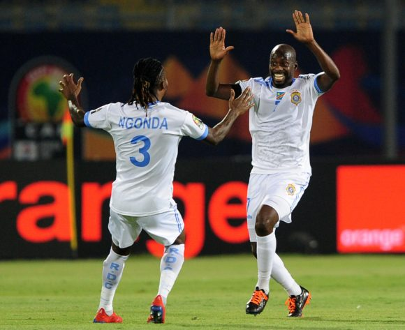 Muzinga Ngoda and Mulumbu Yousuf of DR Congo celebrate a goal scored by Jonathan Bolingi of DR Congo during the 2019 Africa Cup of Nations Finals game between Zimbabwe and DR Congo at 30 June Stadium in Cairo, Egypt on 30 June 2019 © Ryan Wilkisky/BackpagePix