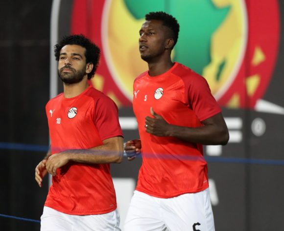 Mohamed Salah and Ali Ghazal of Egypt going to warm up during the 2019 Africa Cup of Nations Finals Uganda and Egypt at Cairo International Stadium, Cairo, Egypt on 30 June 2019 ©Samuel Shivambu/BackpagePix
