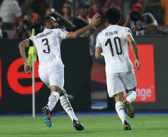 Mohamed Salah of Egypt celebrates goal with teammates during the 2019 Africa Cup of Nations Finals Uganda and Egypt at Cairo International Stadium, Cairo, Egypt on 30 June 2019 ©Samuel Shivambu/BackpagePix