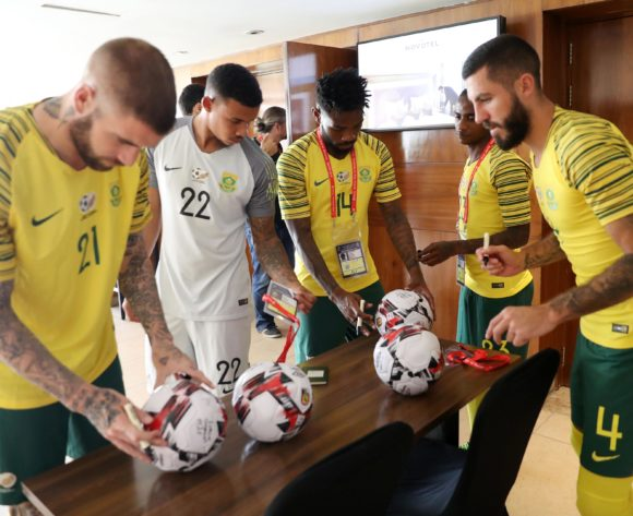Lars Veldwijk, Ronwen Williams, Thulani Hlatshwayo and Daniel Cardoso of South Africa signing session during the 2019 Africa Cup of Nations Finals Caf ball signing session at Novotel Hotel, Cairo, Egypt on 20 June 2019 ©Samuel Shivambu/BackpagePix