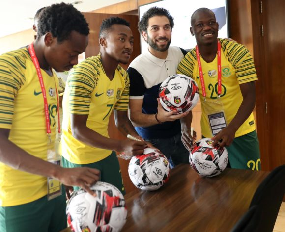 Percy Tau, Lebohang Maboe and Hlompho Kekana of South Africa signing session during the 2019 Africa Cup of Nations Finals Caf ball signing session at Novotel Hotel, Cairo, Egypt on 20 June 2019 ©Samuel Shivambu/BackpagePix