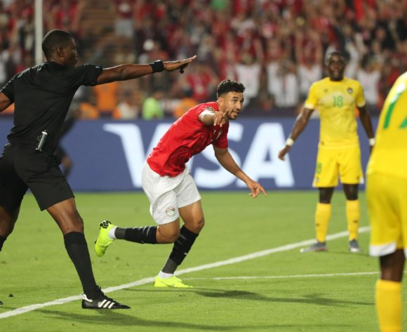 Trezeguet of Egypt celebrates goal during the 2019 Africa Cup of Nations Finals football match between Egypt and Zimbabwe at the Cairo International Stadium, Cairo, Egypt on 21 June 2019 ©BackpagePix
