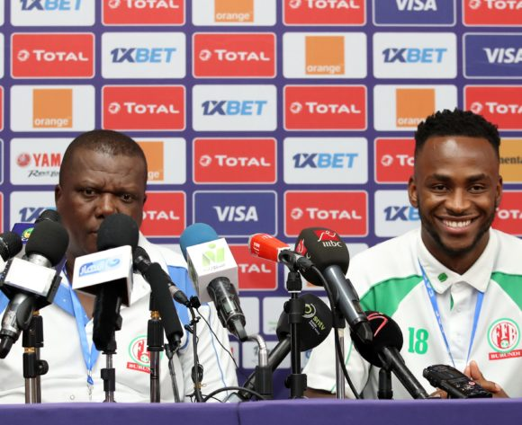 Olivier Niyungeko, coach of Burundi with Saido Berahino of Burundi during the 2019 Africa Cup of Nations Finals Burundi Press Conference at the Alexandria Stadium, Alexandria on the 21 June 2019 ©Muzi Ntombela/BackpagePix
