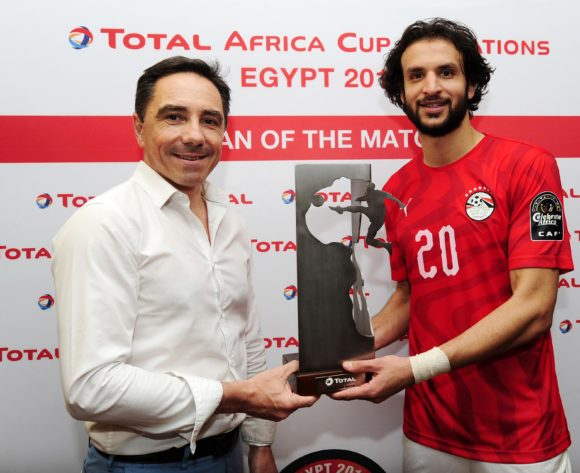 Mahmoud Alaa of Egypt receives the Total Man of the Match award after the 2019 Africa Cup of Nations Finals opening game between Egypt and Zimbabwe at Cairo International Stadium, Cairo, Egypt on 21 June 2019 © Ryan Wilkisky/BackpagePix