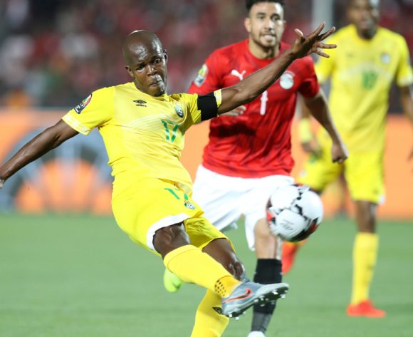 Knowledge Musona of Zimbabwe challenged by Trezeguet of Egypt during the 2019 Africa Cup of Nations Finals match between Egypt and Zimbabwe at Cairo International Stadium, Cairo, Egypt on 21 June 2019 ©Samuel Shivambu/BackpagePix