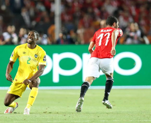 Tendayi Darikwa of Zimbabwe challenged by Walid Soliman of Egypt during the 2019 Africa Cup of Nations Finals match between Egypt and Zimbabwe at Cairo International Stadium, Cairo, Egypt on 21 June 2019 ©Samuel Shivambu/BackpagePix