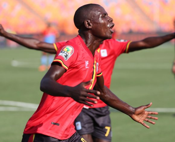 Patrick Kaddu of Uganda celebrates goal during the 2019 Africa Cup of Nations Finals football match between DR Congo and Uganda  at the Cairo International Stadium, Cairo, Egypt on 22 June 2019 ©Gavin Barker/BackpagePix