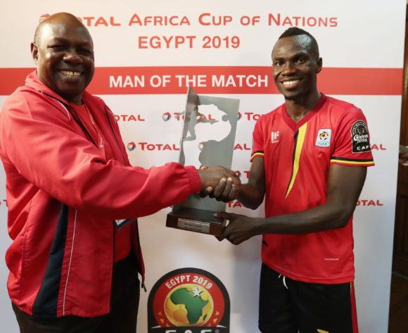 Emmanuel Okwi of Uganda wins Man of the Match during the 2019 Africa Cup of Nations Finals football match between DR Congo and Uganda  at the Cairo International Stadium, Cairo, Egypt on 22 June 2019 ©Gavin Barker/BackpagePix