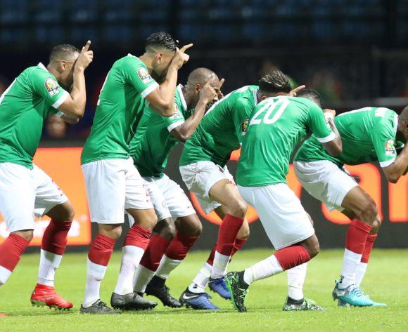 Anicet Andrianantenaina of Madagascar celebrates goal with teammates during the 2019 Africa Cup of Nations Finals match between Guinea and Madagascar at the Alexandria Stadium, Alexandria on the 22 June 2019 ©Muzi Ntombela/BackpagePix