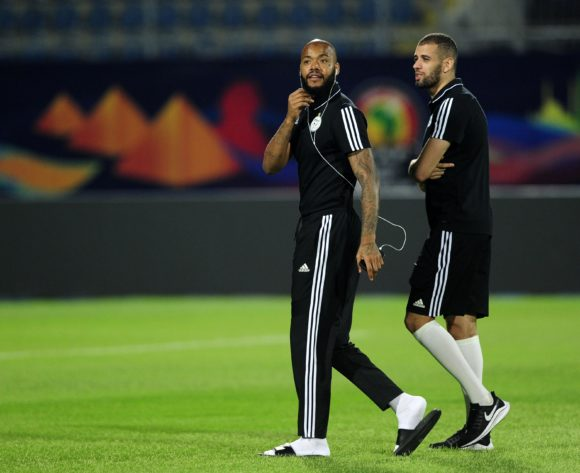 Rais M'Bolhi (left) and Islam Slimani of Algeria during the 2019 Africa Cup of Nations Finals Algeria training session at 30 June Stadium in Cairo, Egypt on 22 June 2019 © Ryan Wilkisky/BackpagePix
