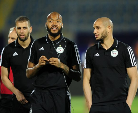 Rais M'Bolhi (left) of Algeria during the 2019 Africa Cup of Nations Finals Algeria training session at 30 June Stadium in Cairo, Egypt on 22 June 2019 © Ryan Wilkisky/BackpagePix