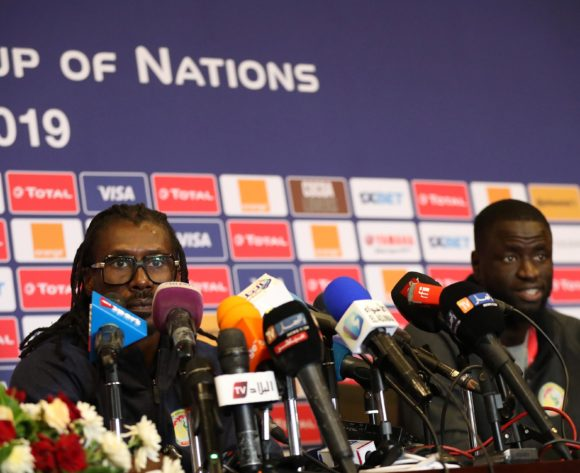 Aliou Cisse, coach of Senegal and Cheikhou Kouyate of Senegal during the 2019 Africa Cup of Nations Finals Senegal press conference at 30 June Stadium, Cairo, Egypt on 22 June 2019 ©Samuel Shivambu/BackpagePix