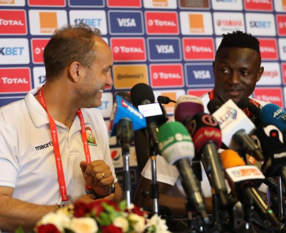 Sebastien Migne, coach of Kenya and Victor Wanyama of Kenya during the 2019 Africa Cup of Nations Finals Kenya press conference at 30 June Stadium, Cairo, Egypt on 22 June 2019 ©Samuel Shivambu/BackpagePix