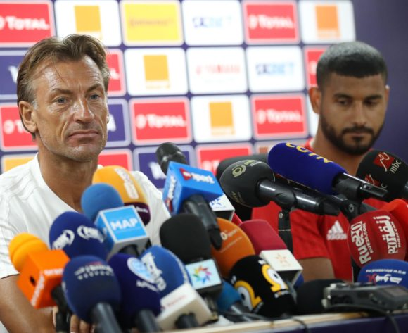 Herve Renard, coach of Morocco and Medhi Benatia of Morocco during the 2019 Africa Cup of Nations Finals Morocco press conference at 30 June Stadium, Cairo, Egypt on 22 June 2019 ©Samuel Shivambu/BackpagePix