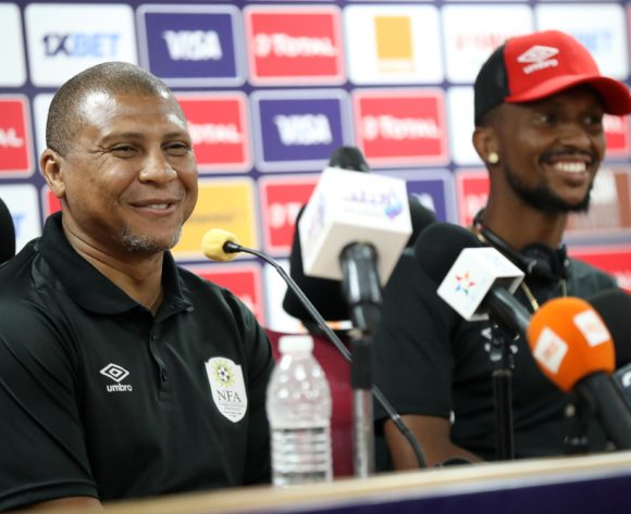 Ricardo Mannetti, coach of Namibia and Willy Stephanus of Namibia during the 2019 Africa Cup of Nations Finals Namibia press conference at AL- Salaam Stadium, Cairo, Egypt on 22 June 2019 ©Samuel Shivambu/BackpagePix