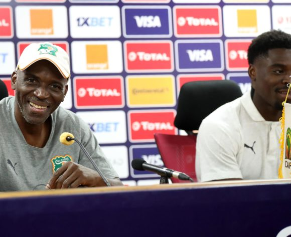 Ibrahim Kamara, coach of Ivory Coast and Serge Aurier of Ivory Coast during the 2019 Africa Cup of Nations Finals Ivory Coast press conference at AL- Salaam Stadium, Cairo, Egypt on 22 June 2019 ©Samuel Shivambu/BackpagePix
