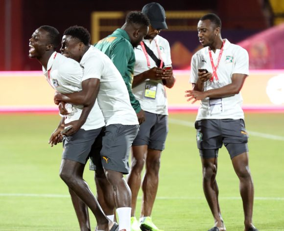 Serge Aurier of Ivory Coast plays with teammates during the 2019 Africa Cup of Nations Finals Ivory Coast at Training at AL- Salaam Stadium, Cairo, Egypt on 22 June 2019 ©Samuel Shivambu/BackpagePix