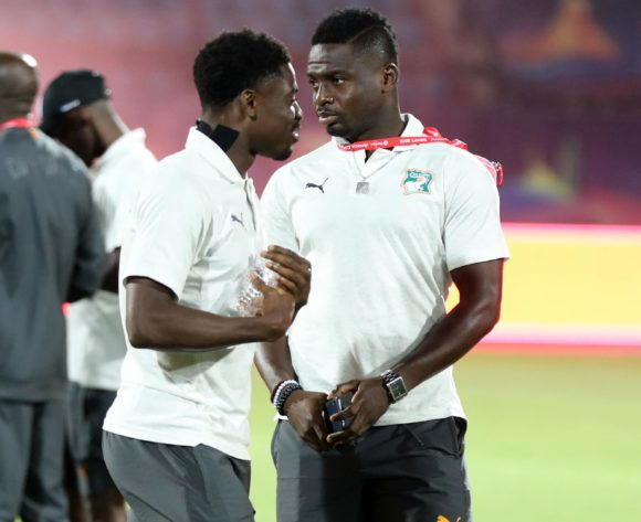 Serge Aurier and Ali Badra of Ivory Coast during the 2019 Africa Cup of Nations Finals Ivory Coast at Training at AL- Salaam Stadium, Cairo, Egypt on 22 June 2019 ©Samuel Shivambu/BackpagePix