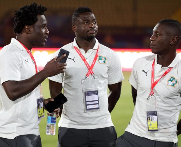 Wilfried Bony and Ali Badra and Max-Alain Gradel of Ivory Coast during the 2019 Africa Cup of Nations Finals Ivory Coast at Training at AL- Salaam Stadium, Cairo, Egypt on 22 June 2019 ©Samuel Shivambu/BackpagePix