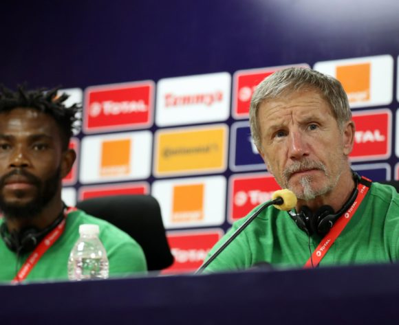 Thulani Hlatshwayo of South Africa and Stuart Baxter, coach of South Africa during the 2019 Africa Cup of Nations Finals South Africa press conference at AL- Salaam Stadium, Cairo, Egypt on 22 June 2019 ©Samuel Shivambu/BackpagePix