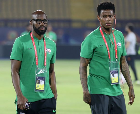Ramahlwe Mphahlele and Bongani Zungu of South Africa during the 2019 Africa Cup of Nations Finals South Africa Training at AL- Salaam Stadium, Cairo, Egypt on 22 June 2019 ©Samuel Shivambu/BackpagePix