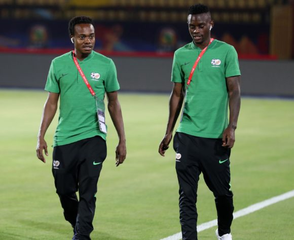 Percy Tau and Innocent Maela of South Africa during the 2019 Africa Cup of Nations Finals South Africa Training at AL- Salaam Stadium, Cairo, Egypt on 22 June 2019 ©Samuel Shivambu/BackpagePix