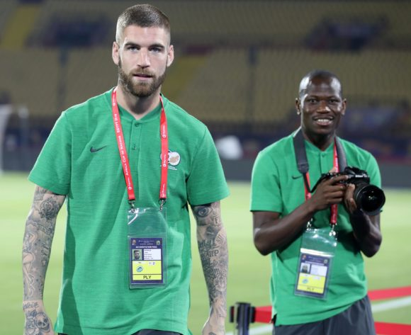 Lars Veldwijk and Hlompho Kekana of South Africa during the 2019 Africa Cup of Nations Finals South Africa Training at AL- Salaam Stadium, Cairo, Egypt on 22 June 2019 ©Samuel Shivambu/BackpagePix